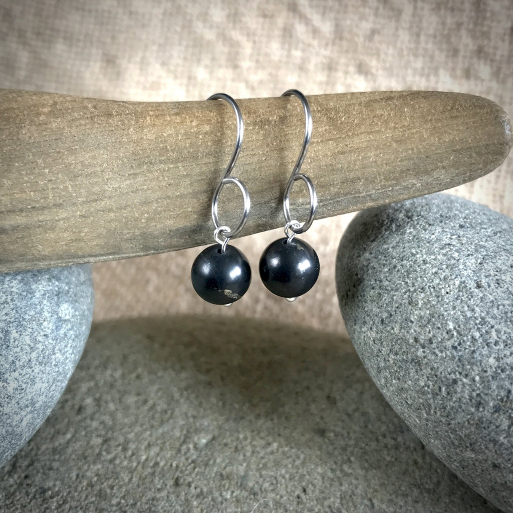 Essential Shungite Earrings, Pure Titanium Ear Wires, EMF Protection - Shungite Queen