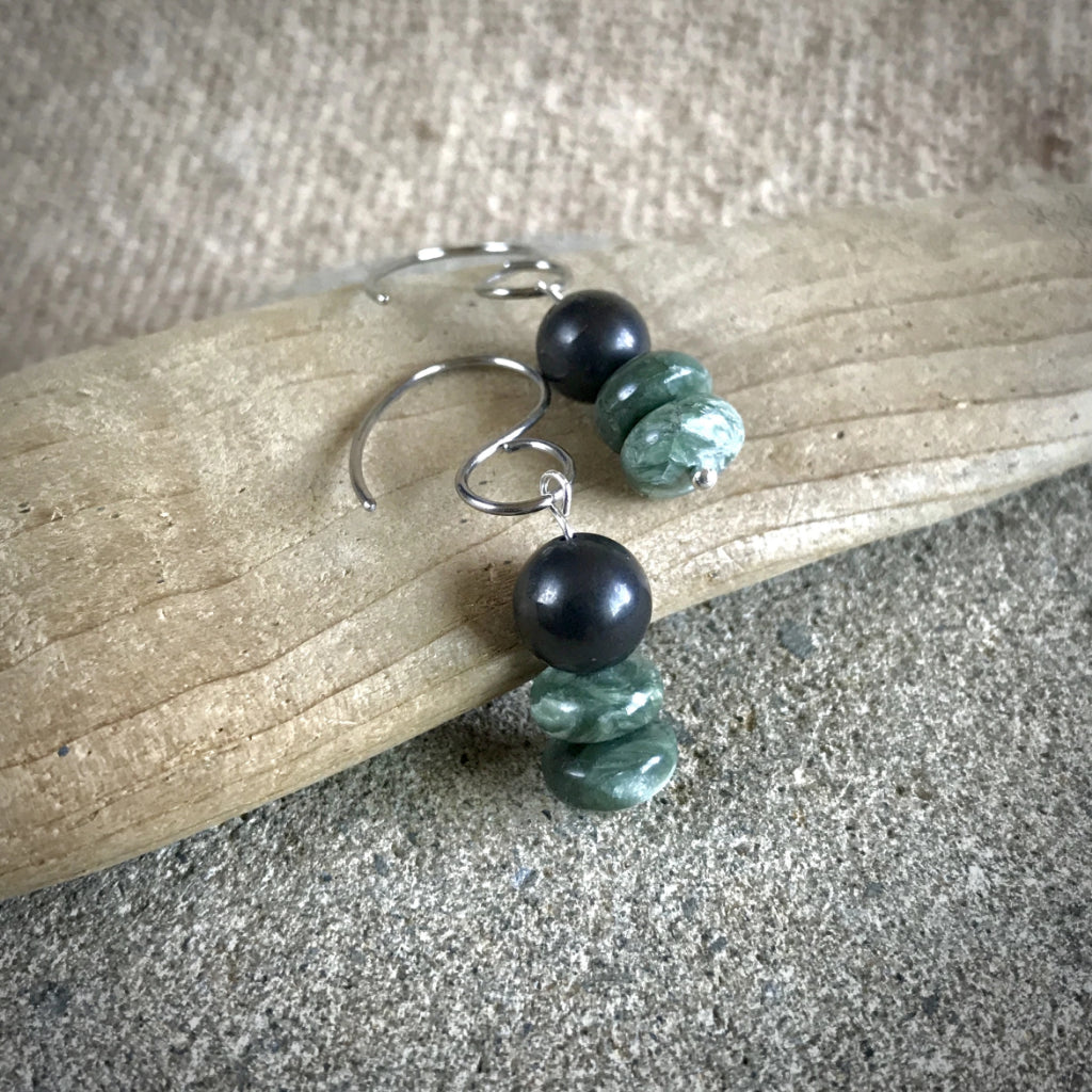Seraphinite & Shungite Earrings, Rare Siberian Stone, EMF, Angel Wings - Shungite Queen