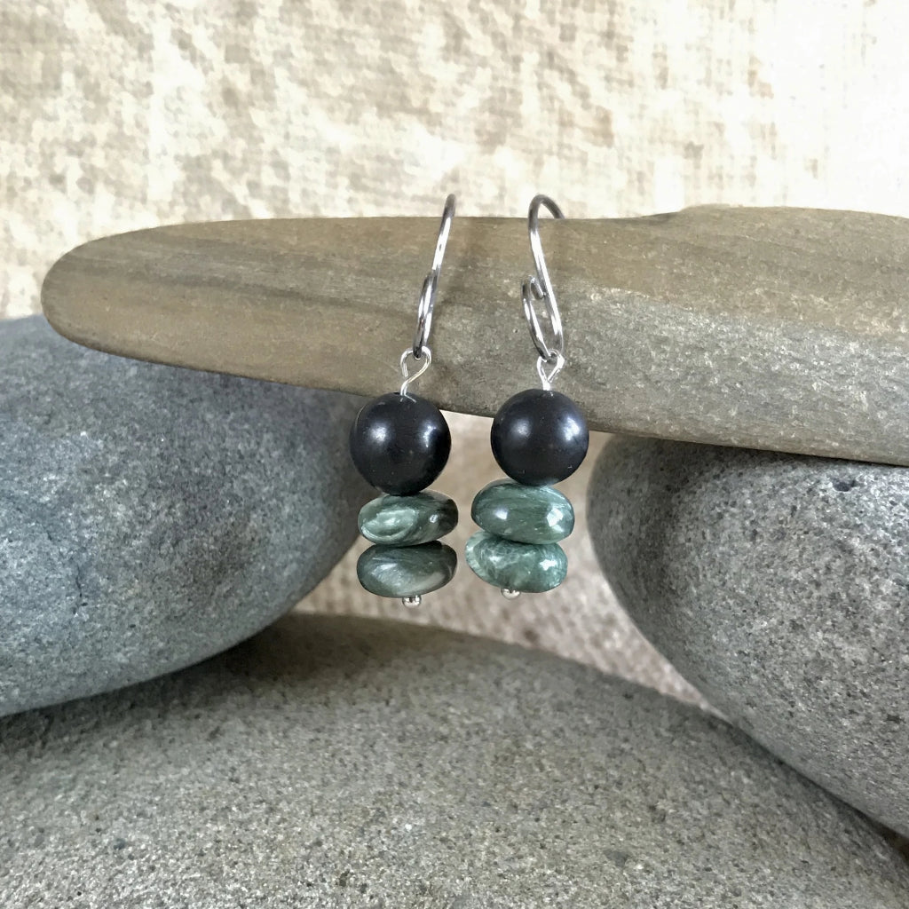Seraphinite & Shungite Earrings, Rare Siberian Stone, EMF, Angel Wings