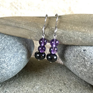 Shungite & Amethyst Earrings, EMF Protection, Intuition, Imagination