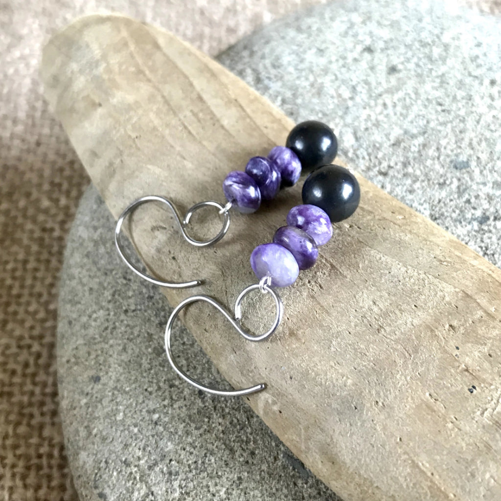 Charoite & Shungite Earrings, EMF Protection, Courage, Transformation - Shungite Queen