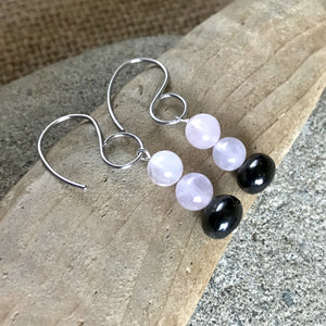 Shungite & Rose Quartz Earrings, EMF Protection, Unconditional Love - Shungite Queen