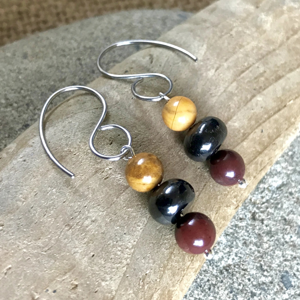 Shungite & Jasper Earrings, EMF Protection, Nurturing, Balance