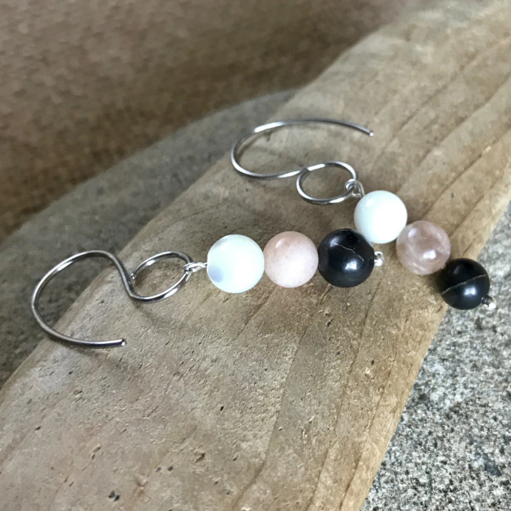 Shungite & Moonstone Earrings, EMF, Divine Feminine, Inner Goddess