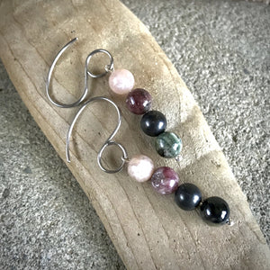 Shungite, Tourmaline, & Peach Moonstone Earrings, Emotional Balance