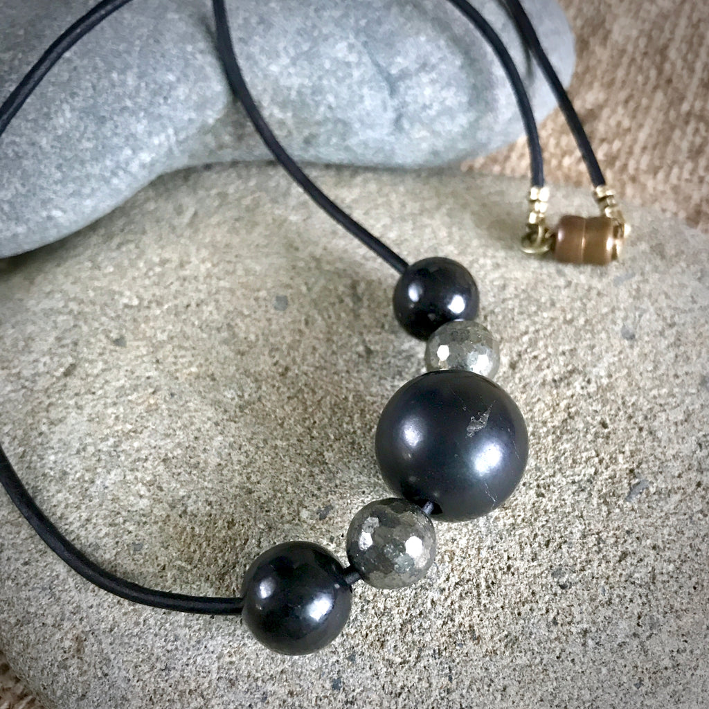 Shungite Necklace w/Pyrite Beads Luck, Prosperity, EMF Protection