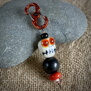 Shungite & Lampwork Glass Halloween Decoration, Skeleton, EMF
