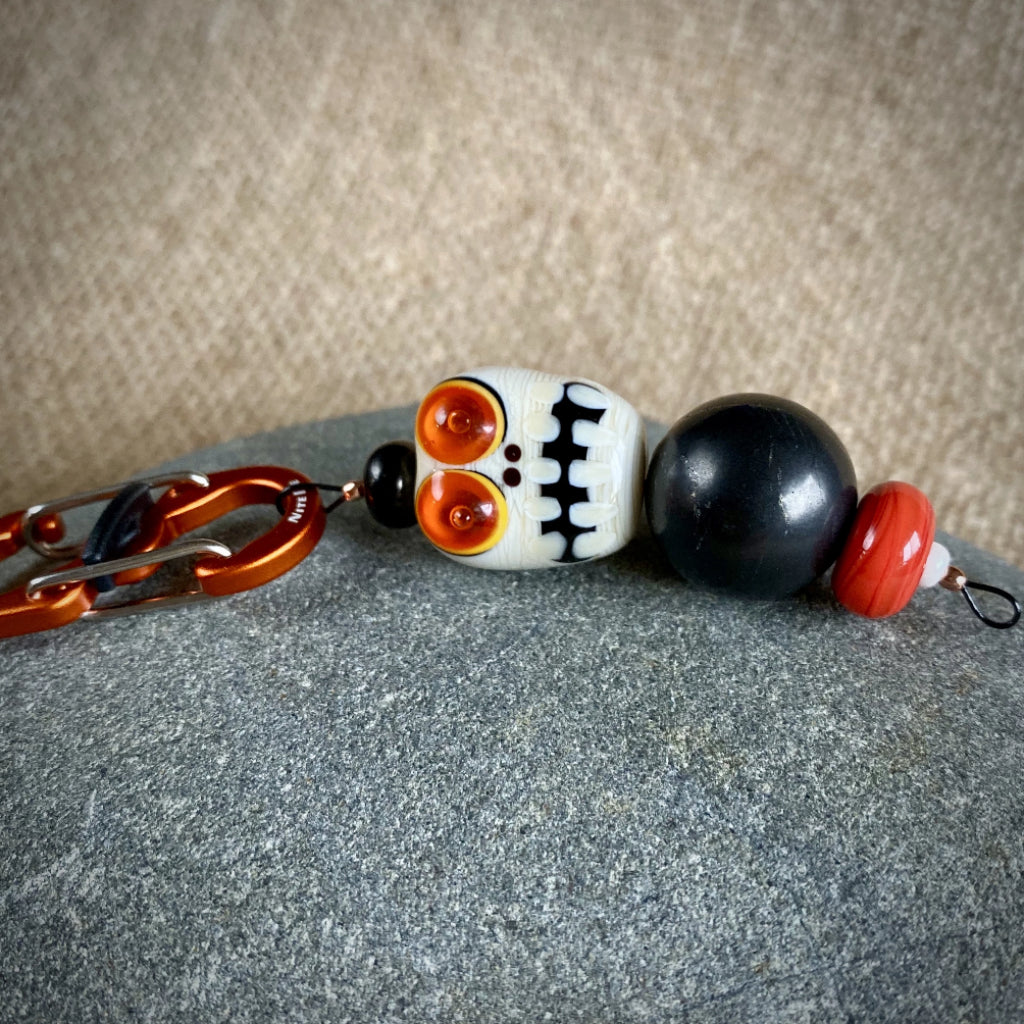 Shungite & Lampwork Glass Halloween Decoration, Skeleton, EMF - Shungite Queen