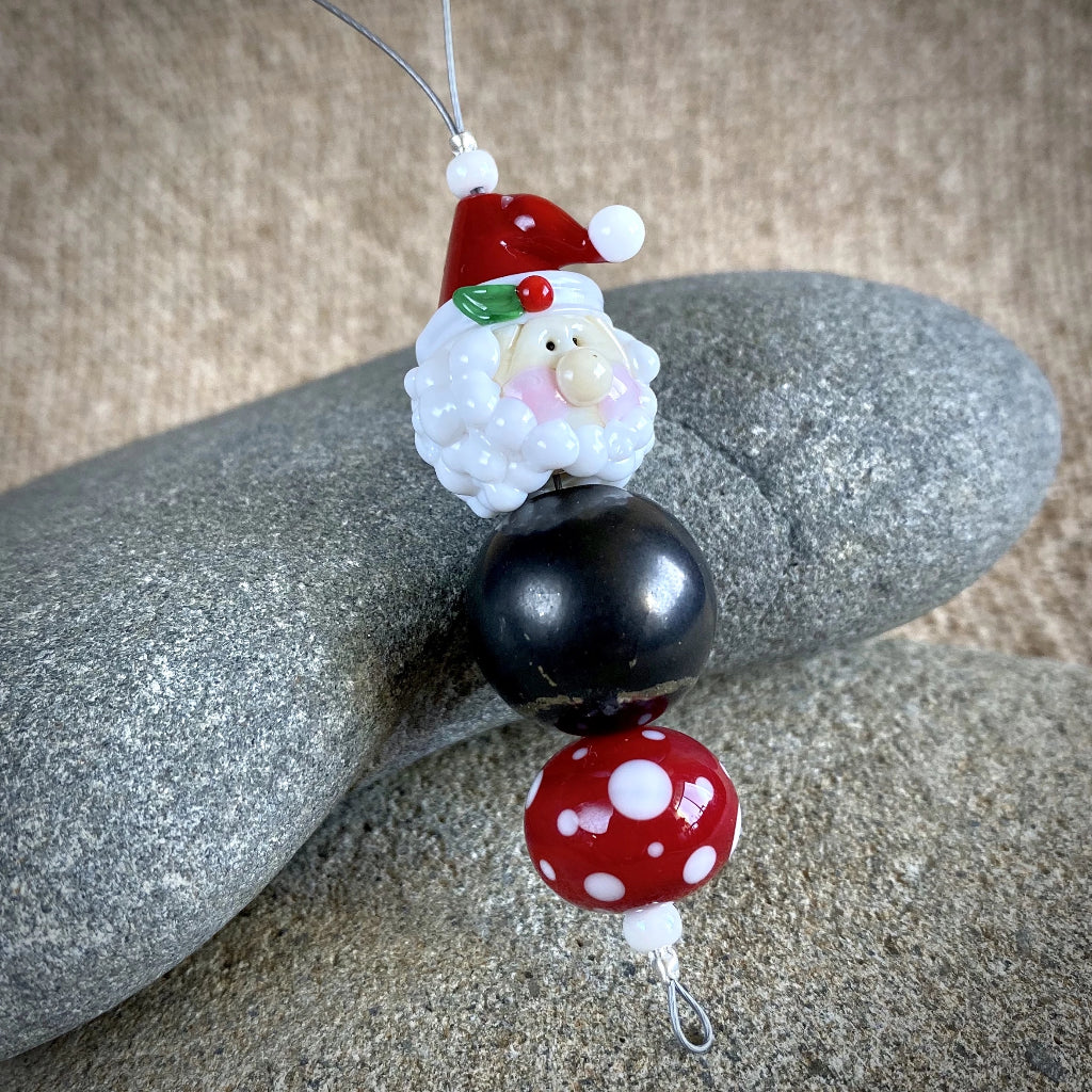 Shungite Santa Ornament, EMF Protective Holiday Decor, Christmas