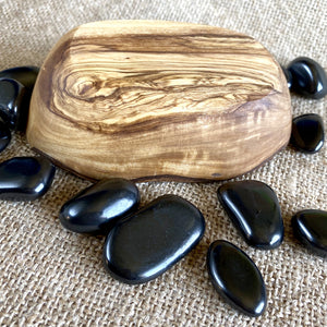 Tumbled Shungite Stones w/Tiger's Eye Heart in Olive Wood Bowl