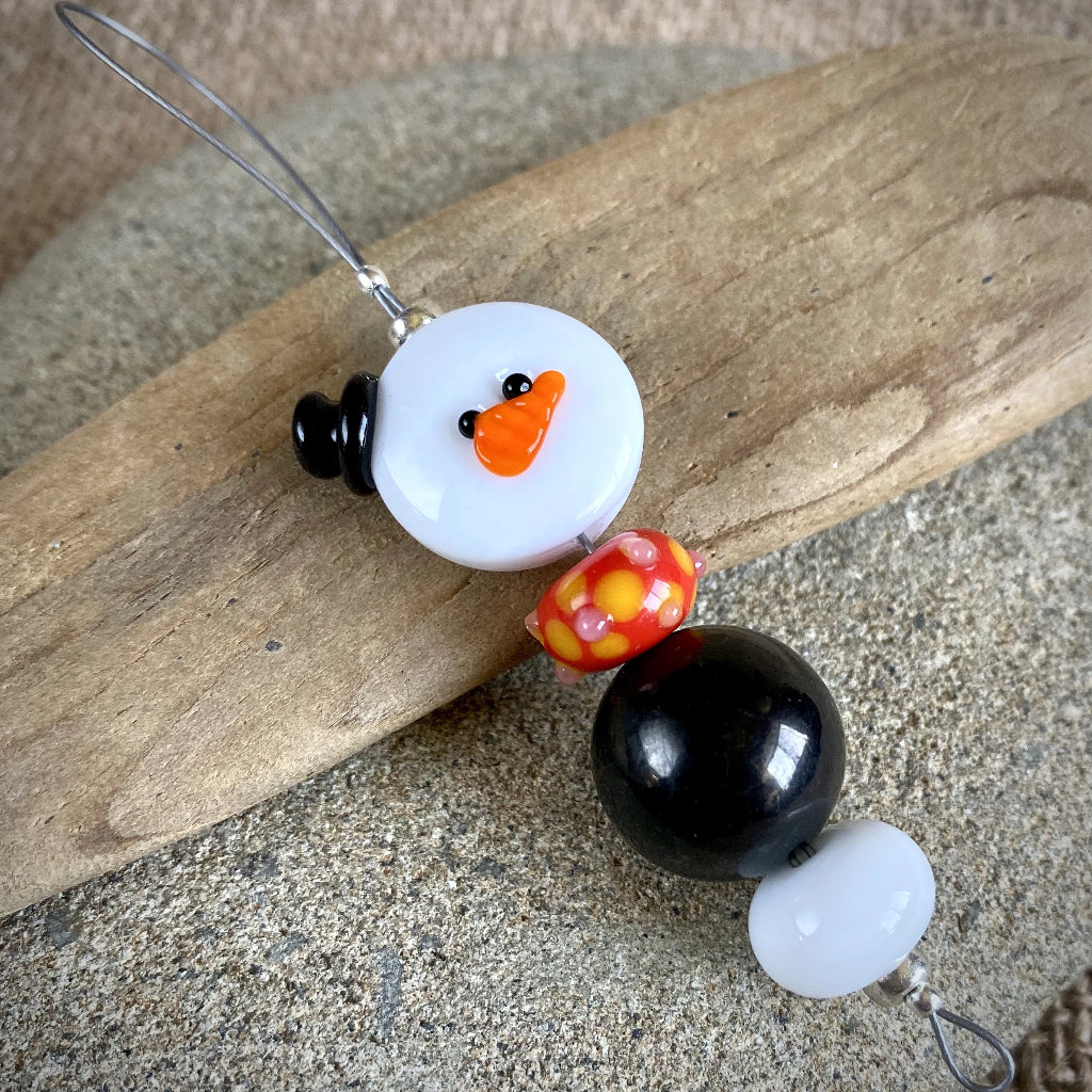 Avant Garde Shungite Snowman Ornament, EMF Protective Holiday Decor - Shungite Queen