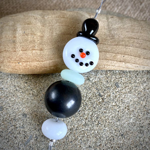 Smiling Shungite Snowman, Ornament, EMF Protective, Holiday Decor