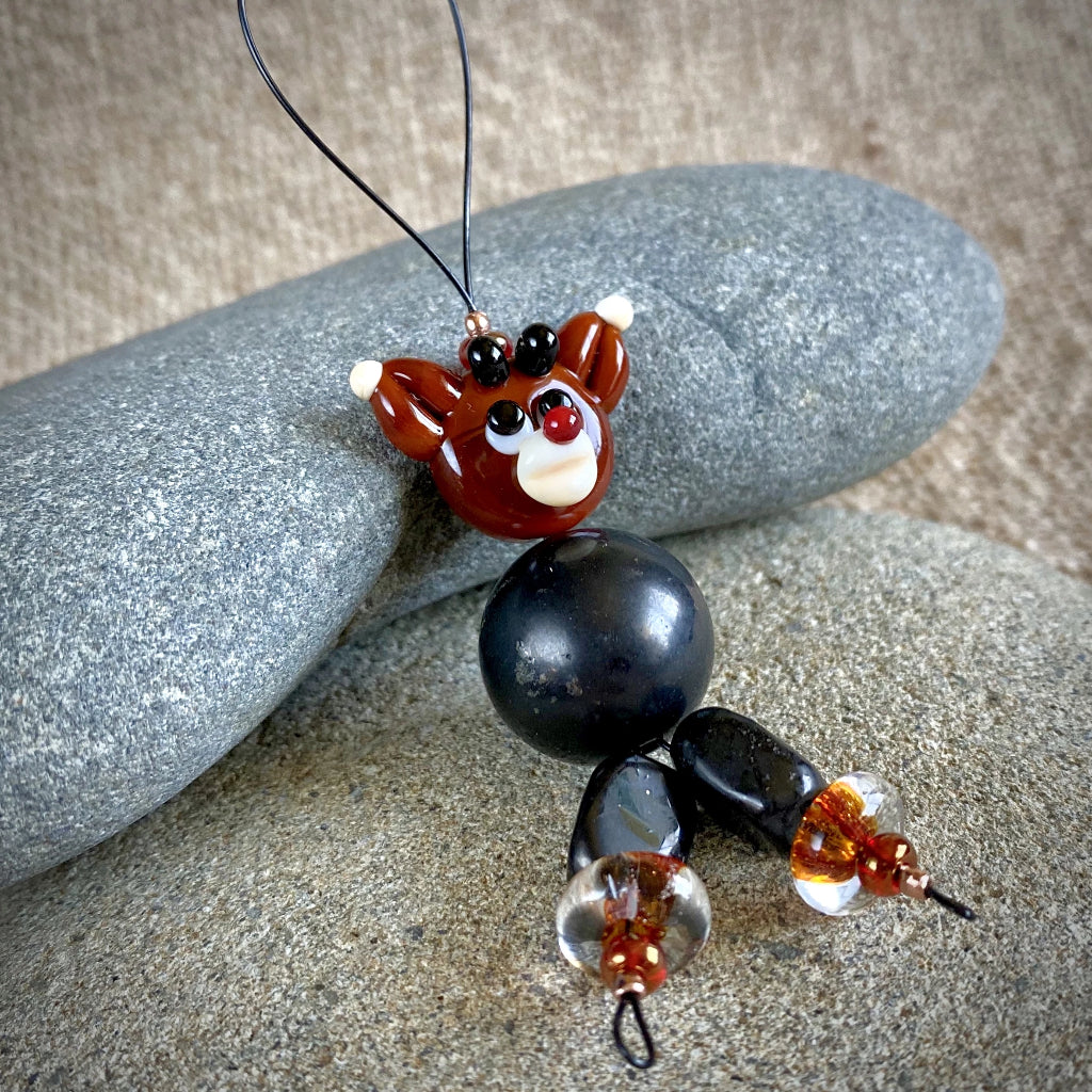 Rudolph Reindeer Ornament, Shungite, EMF, Christmas Decor - Shungite Queen