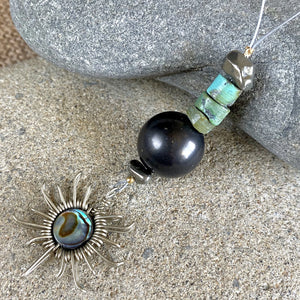Aztec Sun Ornament w/ Shungite, Abalone Shell, Turquoise