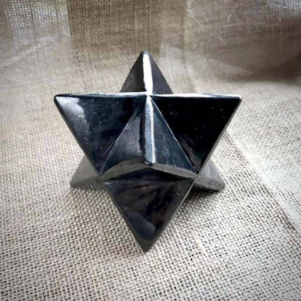 Shungite Merkaba, 50mm, EMF Protection, Hand Carved, Custom Wood Stand - Shungite Queen