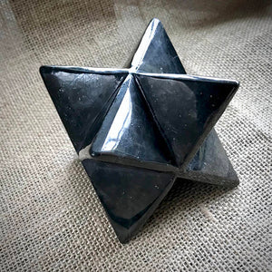 Shungite Merkaba, 3 Inches, 75mm, EMF Protection, Custom Wood Stand
