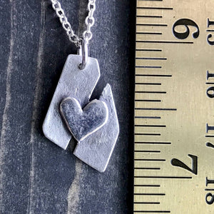 Fine Silver Necklace and Earrings Set, Mended Heart, Gift for Girl