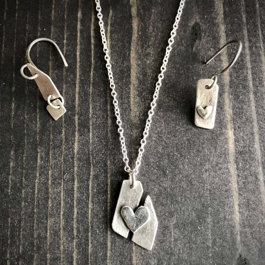 f193b0304061b Fine Silver Necklace and Earrings Set, Mended Heart, Broken Heart, Gift for  Girl, Titanium Ear Wires