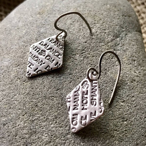 Fine Silver Earrings With Uplifting Words, Diamond Shaped, Peace, Love, Harmony, Titanium Ear Wires - Shungite Queen