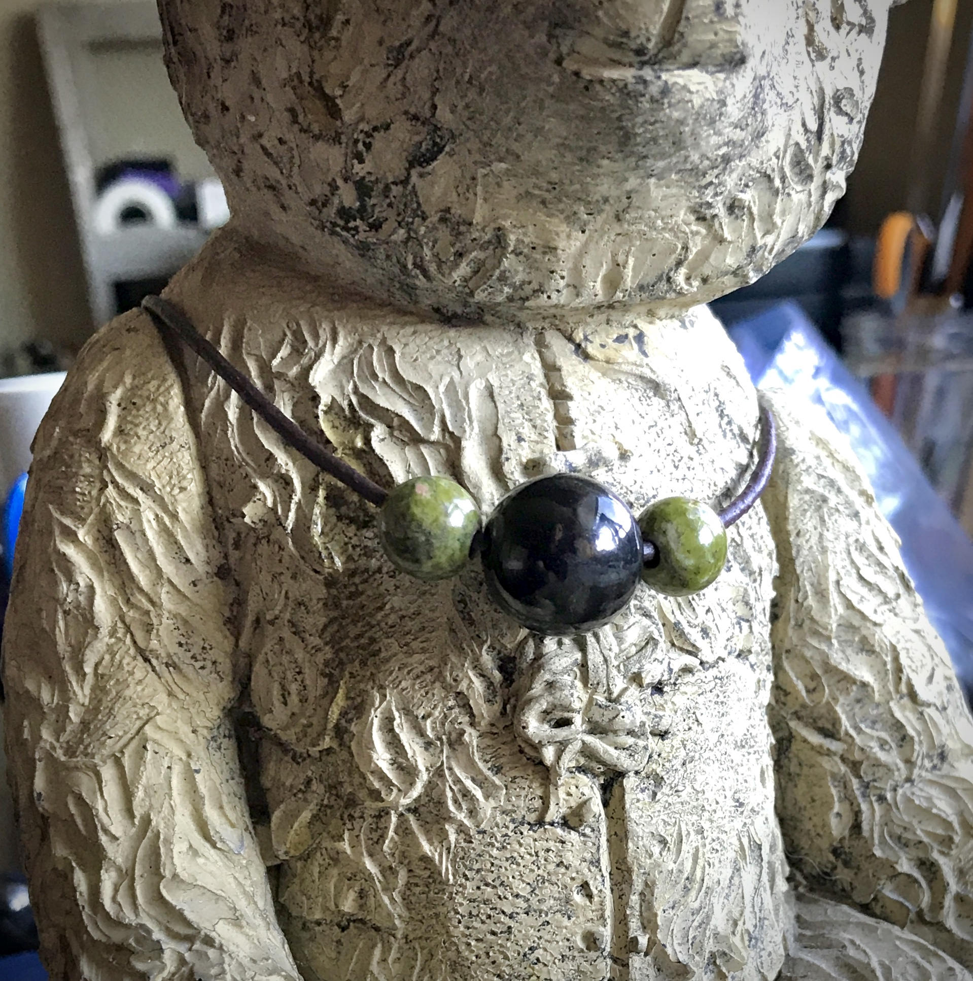 Shungite Necklace With Unakite Beads, EMF Protection, Unisex, Spiritual Insight - Shungite Queen