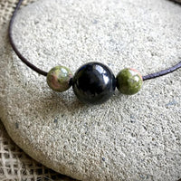 Shungite Necklace With Unakite Beads, EMF Protection, Unisex, Spiritual Insight