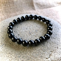 Shungite Bracelet, 8mm Shungite Beads, Elasticized, EMF Protection, Unisex, Man or Woman