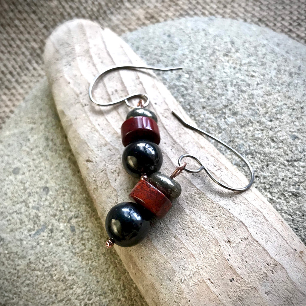 Shungite Earrings with Red Jasper and Pyrite Beads, EMF Protection, Health, Longevity, Prosperity - Shungite Queen