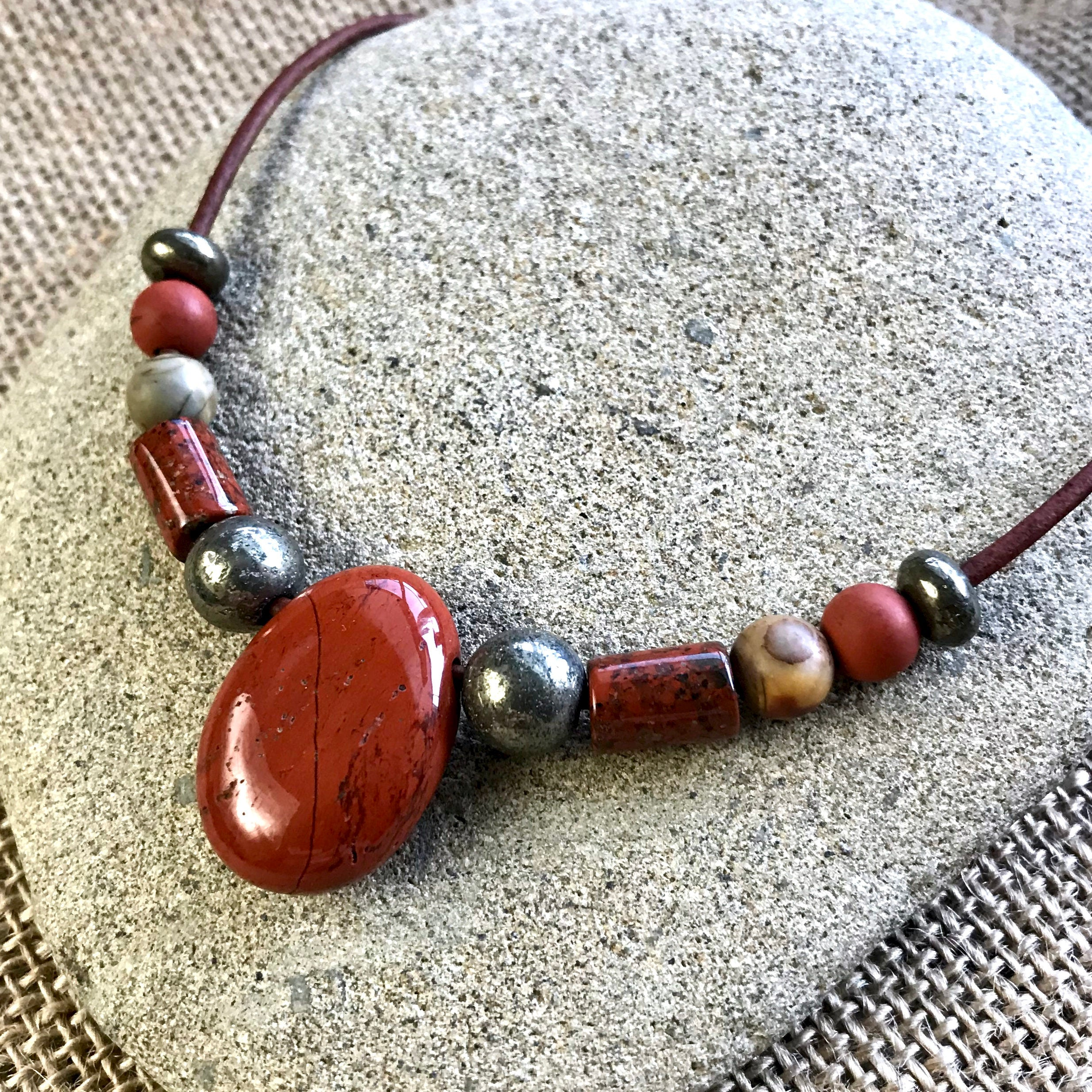 Red Jasper Necklace With Jasper & Pyrite Beads, Pendant, EMF, Luck, Good Fortune
