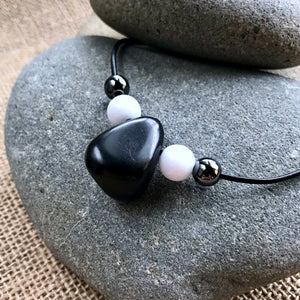 Shungite Necklace, White Jade, Natural Hematite, EMF Necklace, Stunner