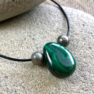 Genuine Malachite Necklace, Pendant, Pyrite Beads, EMF, Prosperity