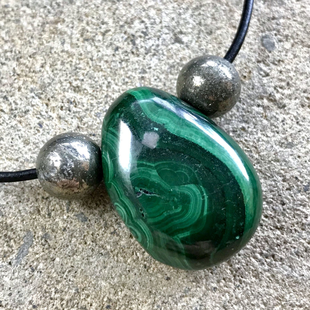 Genuine Malachite Necklace With Pyrite Beads, EMF Protection, Abundance, Prosperity - Shungite Queen