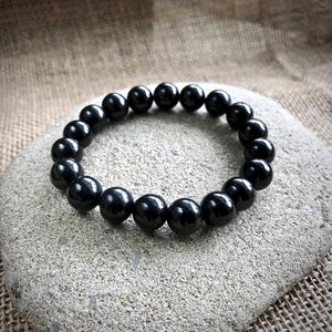 Shungite Bracelet, EMF Protection, 10mm Beads, Elasticized, Unisex