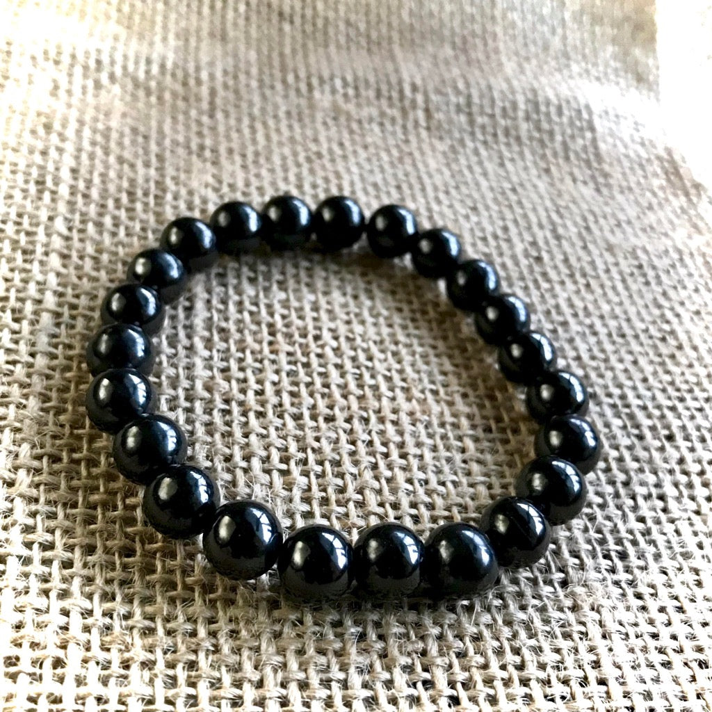 Shungite Bracelet, EMF Protection, 8mm Beads, Elasticized, Unisex