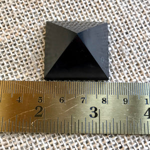 Small Shungite Pyramids, Set of 3, EMF Blocking, Genuine Shungite