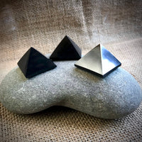 Set of 3 Small Shungite Pyramids, EMF Blocking, Genuine Shungite, Black Shungite