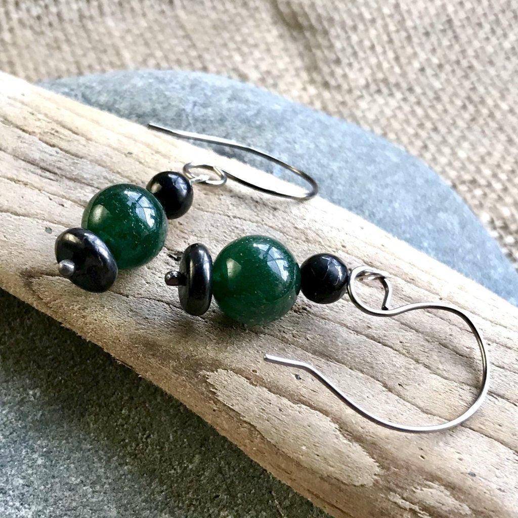 Shungite Earrings with Green Aventurine, EMF Protection, Therapy Grade, Hypoallergenic