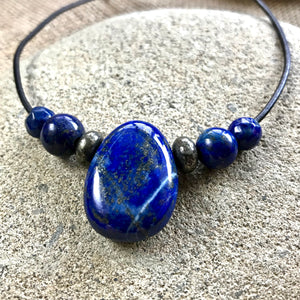 Lapis Lazuli Necklace With Pyrite, EMF Protection, Communication, Throat Chakra - Shungite Queen