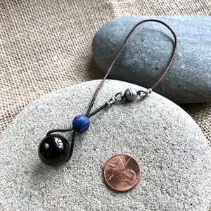 Shungite and Sodalite Rearview Mirror Dangle, EMF, Car Accessory