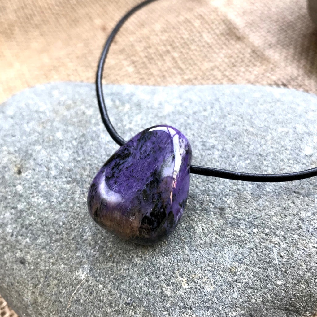Charoite Pendant, Necklace, EMF Protection, Courage, Healing, Growth