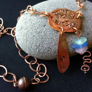 Tapping Necklace, Copper, Sea Glass, EFT, Emotional Freedom Techniques