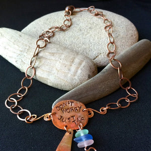 Copper & Sea Glass Tapping Necklace, EFT, Emotional Freedom Techniques - Shungite Queen