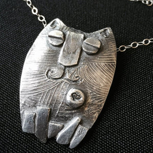 Fine Silver Kitty Pendant, Cat, 999, Whimsical, Silver PMC, Ultimate Gift for Cat Lover - Shungite Queen