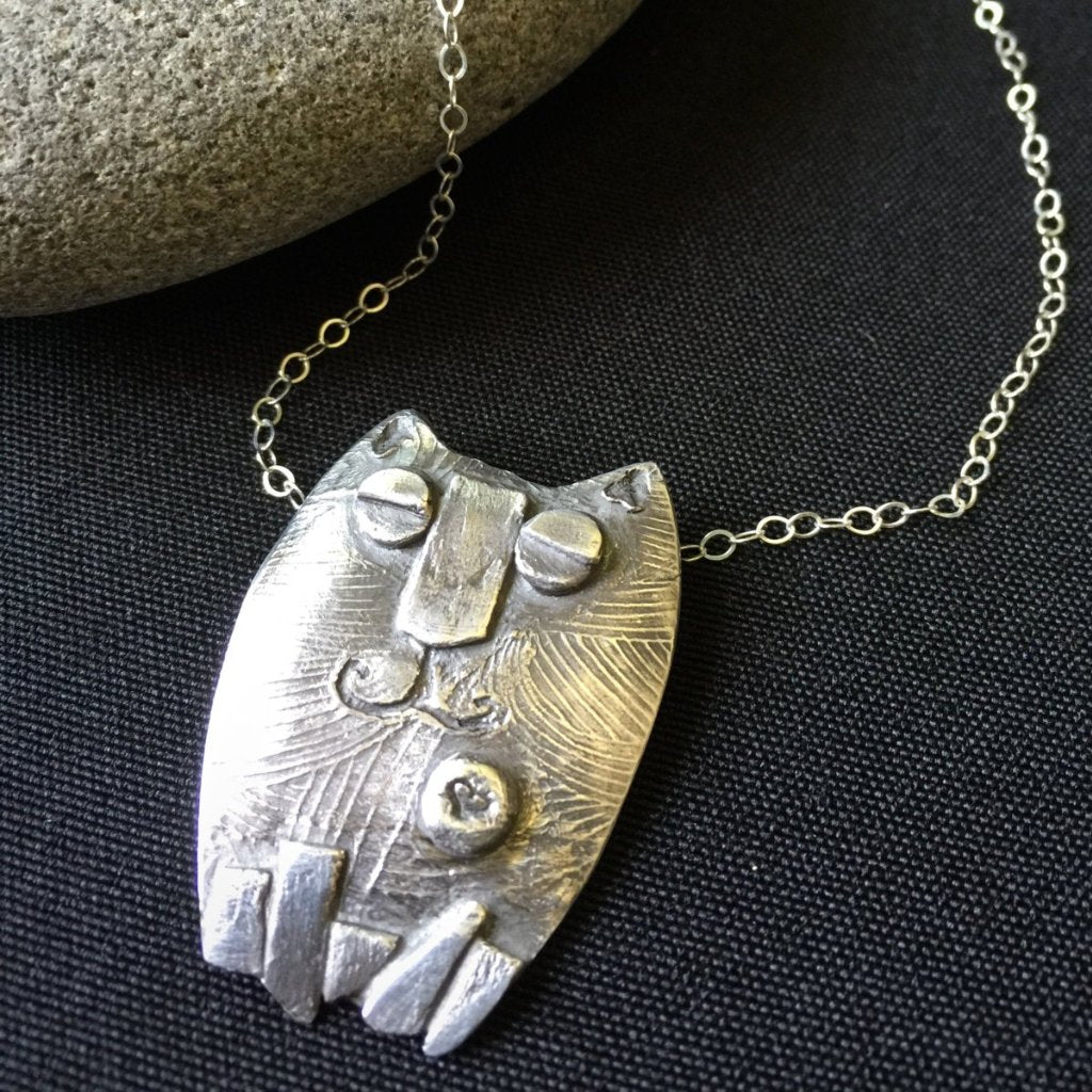 Fine Silver Kitty Pendant, Cat, Whimsical, PMC, 999 Silver, Cat Lovers