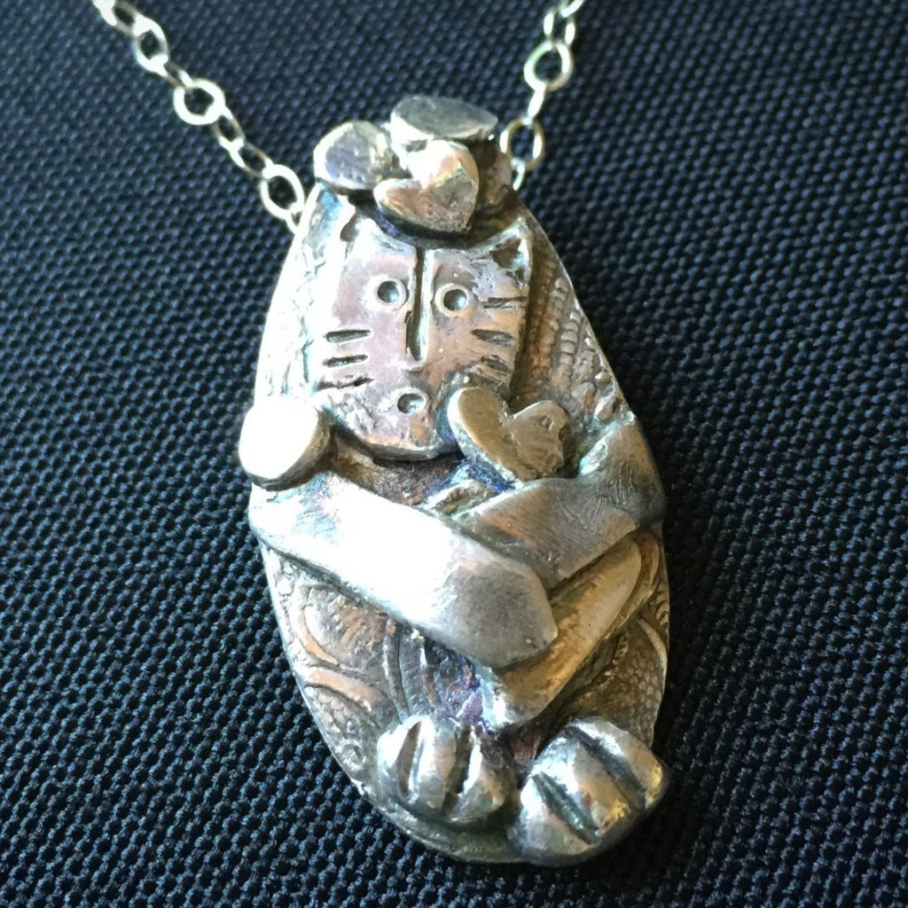 Funny Cat Pendant, Juggling, Hearts, Whimsical, Playful, Feline, Fine Silver, PMC - Shungite Queen