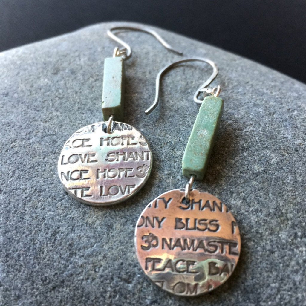 Fine Silver Earrings, Antique Turquoise Beads, Stamped Words, Love, Peace, Hope, Om, Namaste - Shungite Queen
