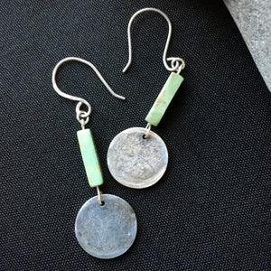 Fine Silver Earrings, Antique Turquoise, Stamped Words, Love, Hope, Om
