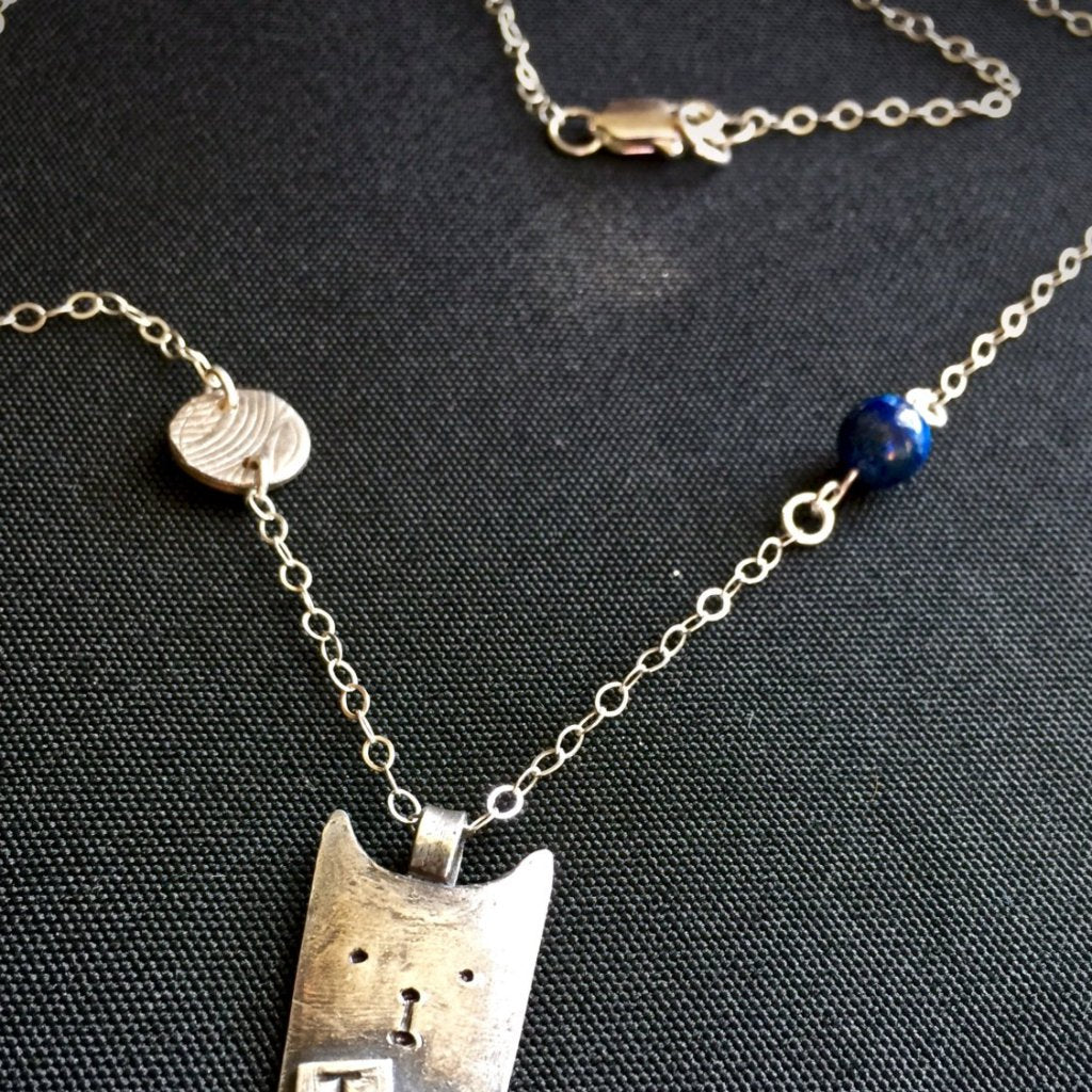Tapping Necklace, EFT, Whimsical Cat, Fine Silver, Sterling, Sodalite