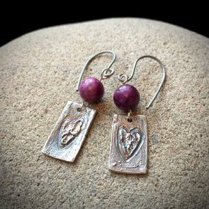 Fine Silver Earrings, Roughed Hearts, Purple Crazy Agate Beads, PMC