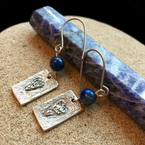 Fine Silver Earrings, Abstract Hearts, Sodalite, Blue, Rectangular