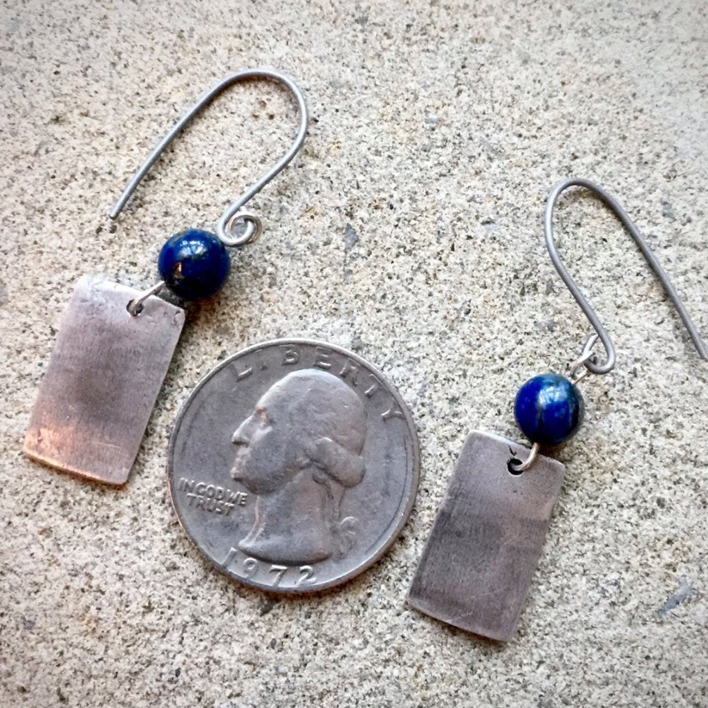 Fine Silver Abstract Heart Earrings With Sodalite Beads, Rectangular, Blue, Hypoallergenic - Shungite Queen